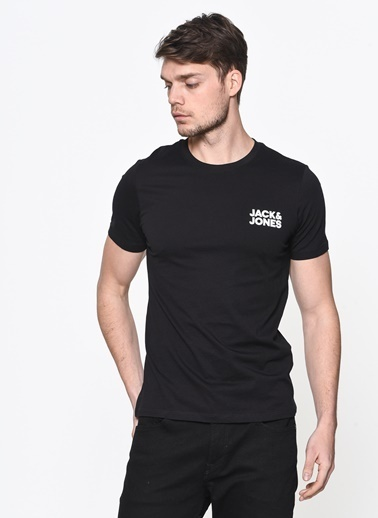 Jack & Jones Tişört Corp Logo Ss O Neck 12151955-Wht Siyah